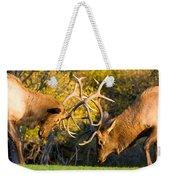 Two Elk Bulls Sparring Weekender Tote Bag by James BO  Insogna