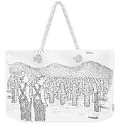 Two Farmers Stand By A Tractor Weekender Tote Bag