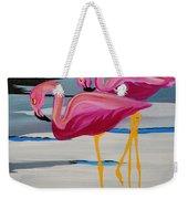 Two Flamingo's In Acrylic Weekender Tote Bag