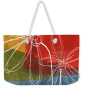 Two Flowers Weekender Tote Bag by Linda Woods
