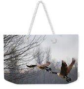 Two Geese In Flight Weekender Tote Bag