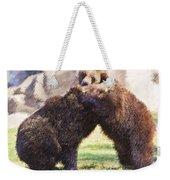 Two Grizzly Bears Ursus Arctos Play Fighting Weekender Tote Bag