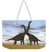 Two Large Brachiosaurus In Prehistoric Weekender Tote Bag