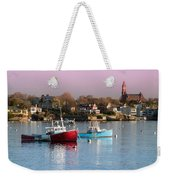 Two Lobster Boats On Marblehead Harbor With A Red Sky Weekender Tote Bag