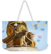 Two Macaques On Top Of Chorten Weekender Tote Bag