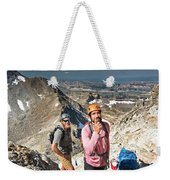 Two Male Hiker Stop To Look Weekender Tote Bag