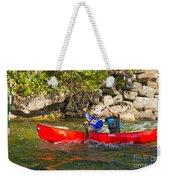 Two Men In A Tandem Canoe Weekender Tote Bag