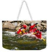 Two Men Paddling A Red Whitewater Canoe Weekender Tote Bag