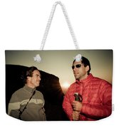 Two Men Share Stories As The Sun Sets Weekender Tote Bag
