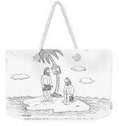 Two Men Sitting On An Island Weekender Tote Bag
