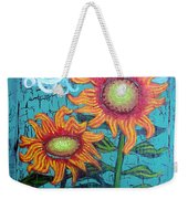Two Orange Sunflowers Weekender Tote Bag