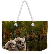 Two Owlets At A Lakeshore Weekender Tote Bag