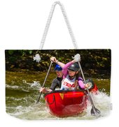 Two Paddlers In A Whitewater Canoe Making A Turn Weekender Tote Bag
