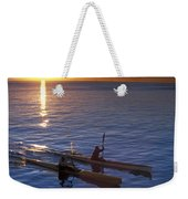 Two Paddlers In Sea Kayaks At Sunrise Weekender Tote Bag