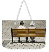 Two People Seated On A Bench Weekender Tote Bag