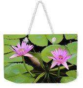 Two Pink Water Lilies Weekender Tote Bag