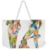 Two Psychedelic Girls With Chimp And Banana Portrait Weekender Tote Bag