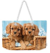Two Puppies In Woven Basket Dp709 Weekender Tote Bag by Greg Cuddiford