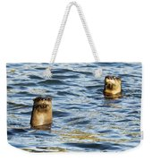 Two River Otters Weekender Tote Bag