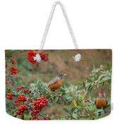 Two Robins Eating Berries Weekender Tote Bag