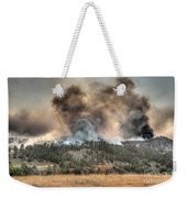 Two Smoke Columns White Draw Fire Weekender Tote Bag