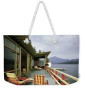 Two Women On The Deck Of A House On A Lake Weekender Tote Bag