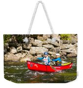 Two Women Paddling A Whitewater Canoe Weekender Tote Bag