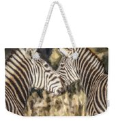 Two Zebras Equus Quagga Nuzzlling Weekender Tote Bag