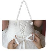 Tying The Bow On A Wedding Dress Weekender Tote Bag