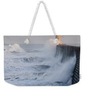 Tynemouth North Pier With Waves Weekender Tote Bag