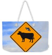 Ufo Cattle Crossing Sign In New Mexico Weekender Tote Bag