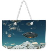 Ufos Flying Over A Mountain Range Weekender Tote Bag