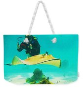 Underwater Photographer And Stingray Weekender Tote Bag