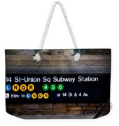 Union Square Subway Station Weekender Tote Bag by Susan Candelario