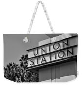Union Station Sign Black And White Weekender Tote Bag
