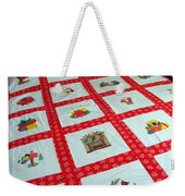 Unique Quilt With Christmas Season Images Weekender Tote Bag