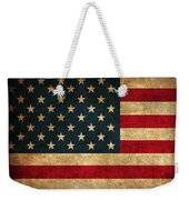 United States American Usa Flag Vintage Distressed Finish On Worn Canvas Weekender Tote Bag by Design Turnpike