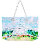 United States Capitol - Watercolor Portrait Weekender Tote Bag