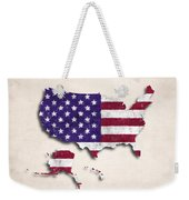 United States Map Art With Flag Design Weekender Tote Bag