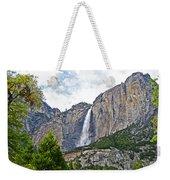 Upper Yosemite Falls From The Valley Floor In Yosemite National Park-california Weekender Tote Bag