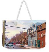 Urban Winter Landscape Colors Of Quebec Cold Day Pointe St Charles Street Scene Montreal  Weekender Tote Bag
