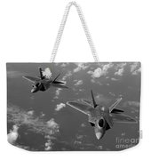 U.s. Air Force F-22 Raptors In Flight Near Guam. Weekender Tote Bag