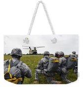 U.s. Army Paratroopers Prepare To Board Weekender Tote Bag