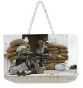 U.s. Army Soldier Looks Down The Scope Weekender Tote Bag