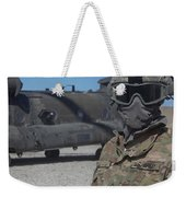 U.s. Army Soldier Stands Ready To Load Weekender Tote Bag