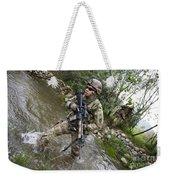U.s. Army Soldier Walks Through A Creek Weekender Tote Bag