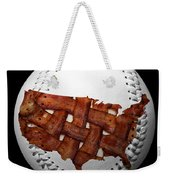 Us Bacon Weave Map Baseball Square Weekender Tote Bag by Andee Design