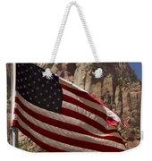 U.s. Flag In Zion National Park Weekender Tote Bag