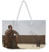 U.s. Marine Looks Up To The Sky While Weekender Tote Bag