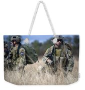 U.s. Soldiers Await The Arrival Weekender Tote Bag